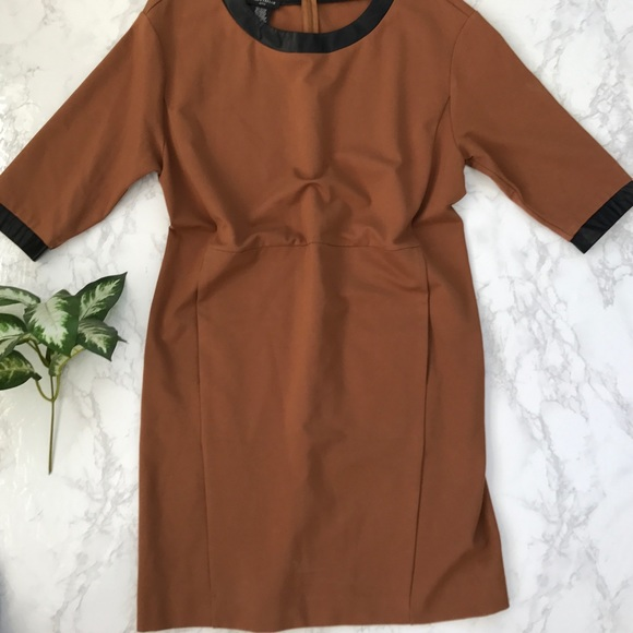Lord Taylor Dresses Lord Taylor Petite Camel Dress Faux Leather
